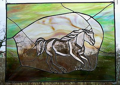 "Leaded Glass Window Picture ""Galloping Horse"" Art In Tiffany / Copper & Zinc"