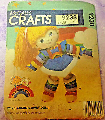 Rainbow Brite Sewing Pattern McCall's 9238  Uncut Doll Crafts vintage 1983