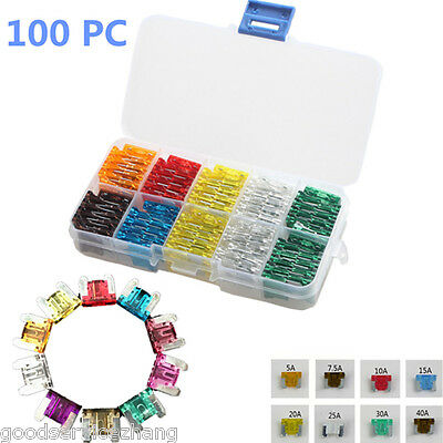 100pcs Assorted Low Profile middle Blade Fuse Circuit 2Leg For Nissan GM Car