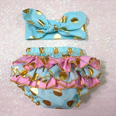 Baby Girl Ruffle Bloomer Dots Diaper Cover Outfit Shorts with Headband Mystic