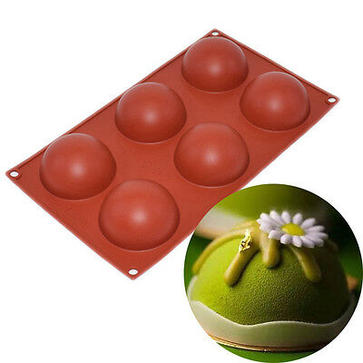 Silicone Cake Mold 6 Hole Half Sphere Ball Round Handmade Soap Chocolate Mould