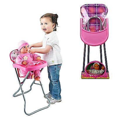 New Girls Baby Doll Role Play Feeding Pink High Chair Folding Toys Xmas Fun Gift