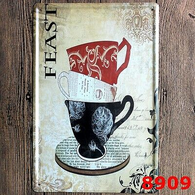 Metal Tin Sign feast coffee  Decor Bar Pub Home Vintage Retro Poster Cafe ART