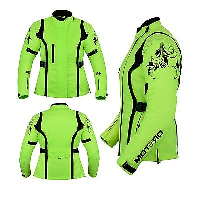 HiVis Ladies Women,s Motorcycle Motorbike Waterproof Cordura Jackets HI-VIZ