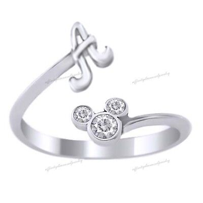 Silver Plated Disney Ring - Mickey Mouse Cubic Zirconia Initial A Ring