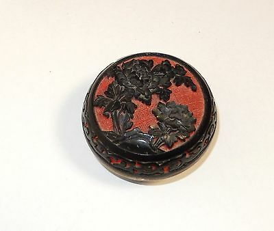 Small Chinese Flower Carved Cinnabar Red & Black Lacquer Enamel Trinket Jar Box