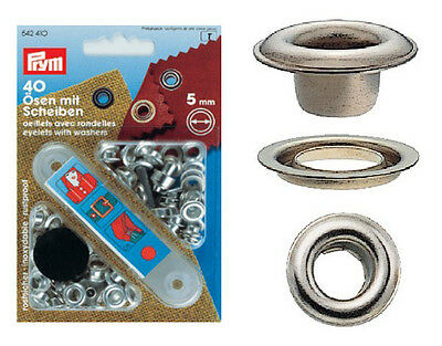Prym 40 Eyelets with Discs 5mm Silver Color 542410 Brass, Rust-Free