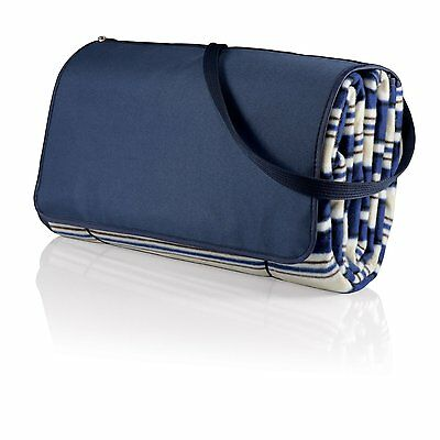 Picnic Time Outdoor Picnic Blanket Tote XL Blue Stripe New
