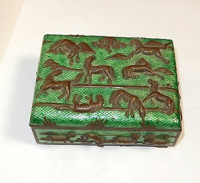 Old Chinese Bronze Cloisonne Repousse Green Enamel Horses Design Humidor Jar Box