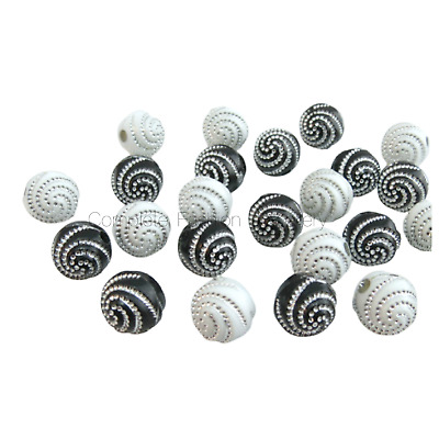 100Pcs X 10Mm Black/white Silver Swirl Acrylic Round Beads For Jewellery Making