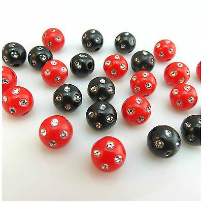 100Pcs X 10Mm Black/red Acrylic Round Crystal Beads For Jewellery Making
