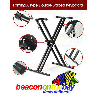 7 Adjustable Heights Folding Double Braced X Style Music Piano Keyboard Stand
