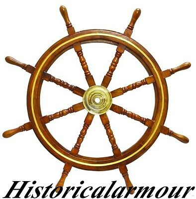 "36"" Boat Ship Wooden Steering Wheel Nautical Wall Decor W/ Brass Ring A64R52B"