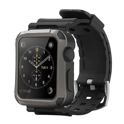 Rugged Protective 42mm Gray Case w Strap Band Black Smart for Apple Watch iWatch