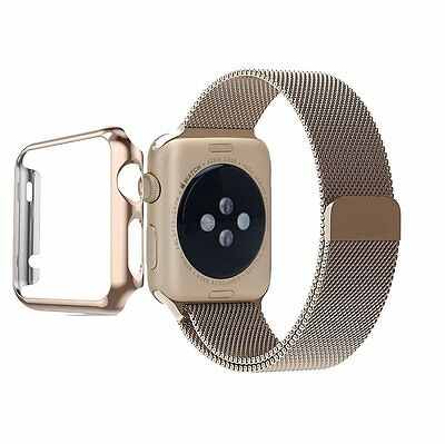 38mm Plated Gloss Case Band Accessory Strap for Apple Watch iWatch Gold Champagn