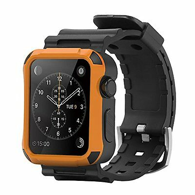 Rugged Protective 42mm Orange Case Strap Band Black Smart for Apple Watch iWatch
