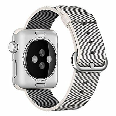 Woven Nylon Band Strap 38mm Replacement Accessory Pearl for Apple Watch iWatch