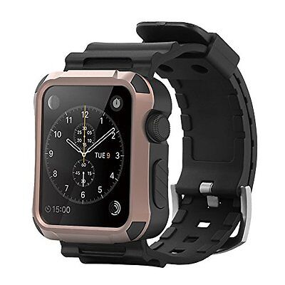 Rugged Protective 42mm Rose gold Case w Strap Band Black for Apple Watch iWatch