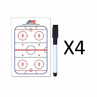 "A&R Sports Hockey Pocket Coach Board 5x4"" Write On Wipe Off With Marker (4-Pack)"