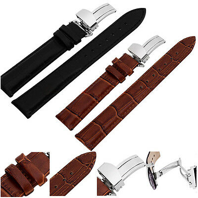 New Stainless Butterfly Clasp Buckle Watch Band Genuine Leather 18-24mm Strap