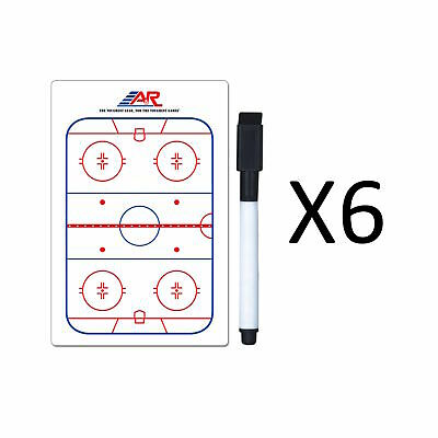 """A&R Sports Hockey Pocket Coach Board 5x4"""" Write On Wipe Off With Marker (6-Pack)"""