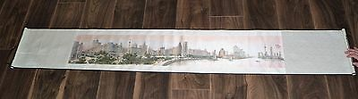 Vintage Chinese  Bund Of Shanghai   Long Scroll W/presentation Box