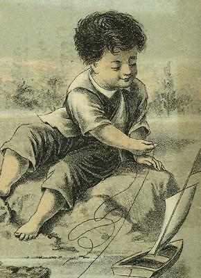 Boy & Toy Sailboat Schildwachter Becker Cambric Ulster Suit Victorian Trade Card