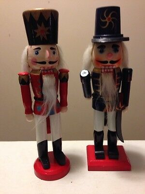 "Pair Of Vintage 9"" Wooden Nutcrackers In Original Boxes"