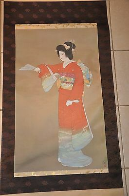 Japanese Hanging Scroll Painting 上村松園 Silk Art Japan