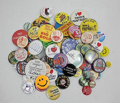 Lot of 80 mixes Pinbacks - Buttons & Pins - collector or crafter - all pictured