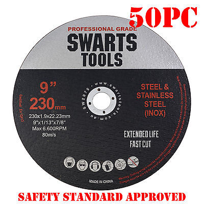 "50 x 9"" 230MM CUTTING DISC WHEEL THIN ANGLE GRINDER CUT OFF METAL STEEL FLAP"