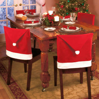 Party  Decoration  Table  Christmas  Red Hat Decor  Dinner  Chair Cover Clause