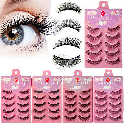 UK 5-50 Pairs Natural Durable Thick Handmade False Lashes Makeup Fake Eyelashes