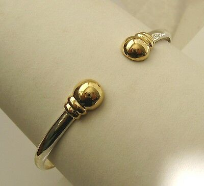 GENUINE SOLID 9K 9ct YELLOW GOLD and 925 STERLING SILVER MENS TORQUE BANGLE