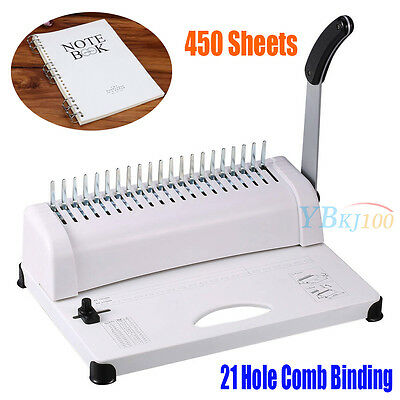Heavy Duty Office Home Comb Binding Machine 21 Hole Plastic Coil Punch Binder US