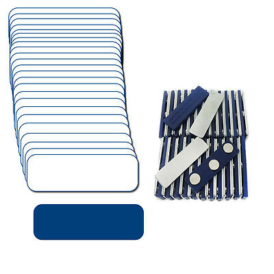 "25 Blank White Blue Name Badge Kit (U) 1 X 3 White / Tags 1/4"" Corners Labels"