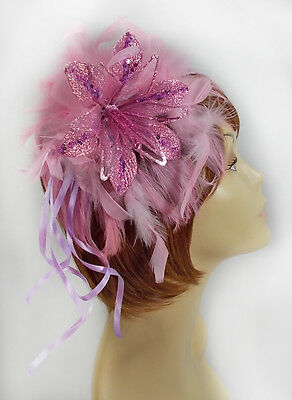Pink Feather Fascinator Glitter Christmas Flower Ladies Of Society Derby Church