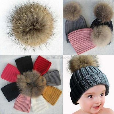 Child Baby Warm Winter Knit Natural Raccoon Fur Pom Bobble Hat Crochet Ski Caps