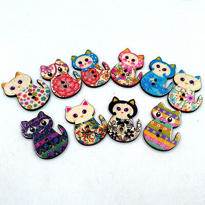 50 Pcs Wooden Cake Cat Buttons Sewing Scrapbooking Crafts Diy 2 Holes Antique