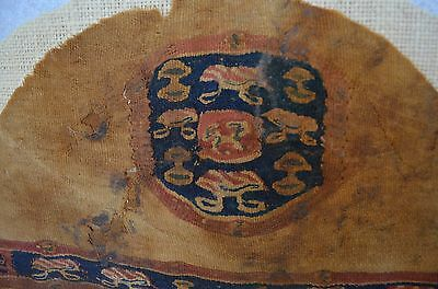 Authentic Egypht Coptic large textile with a decor of animals/symbols.  6-8th