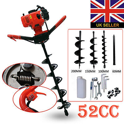 New 52cc Petrol Earth Auger Digger 2HP Post Hole Borer Ground Drill & 3 Bits
