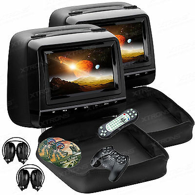 """2x HDMI Black 7"""" HD LCD Active Car Pillow Video Headrest Monitor DVD Player Game"""