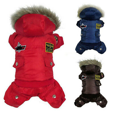 Dog Pet Winter Warm Coat Sweater Puppy Padded Hoodie Jumpsuit Pants Apparel