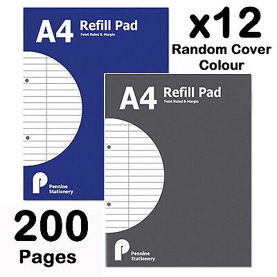 A4 Refill Pad ruled margin lined writing note book punched holes school college