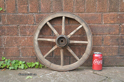 39 cm - vintage old wooden cart wagon wheel - FREE DELIVERY