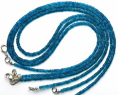 """Natural Gem Neon Blue Apatite 3MM Approx. Rondelle Beads 18"""" Finished Necklace"""