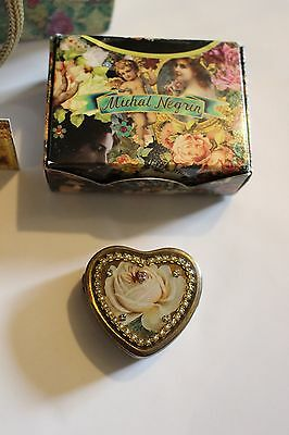 Michal Negrin - Vintage Flower, Heart Shaped Pill Box with Swarovski Crystals