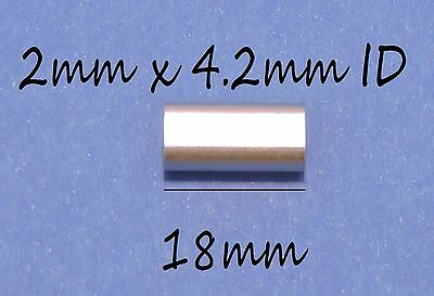 100x 2.0mm x 4.2mm x 18mm LONG ALUMINIUM CRIMPS FISHING SLEEVES FOR MONO & WIRE