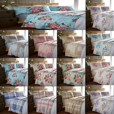 Flannelette 100% Cotton Flat & Fitted Sheet Sets With Pillow Cases All Sizes