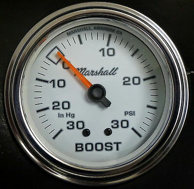 """Marshall Comp II 3211 Mecanical Vacuum Boost Gauge 2 5/8"""" White Dial 30HG 30PSI"""